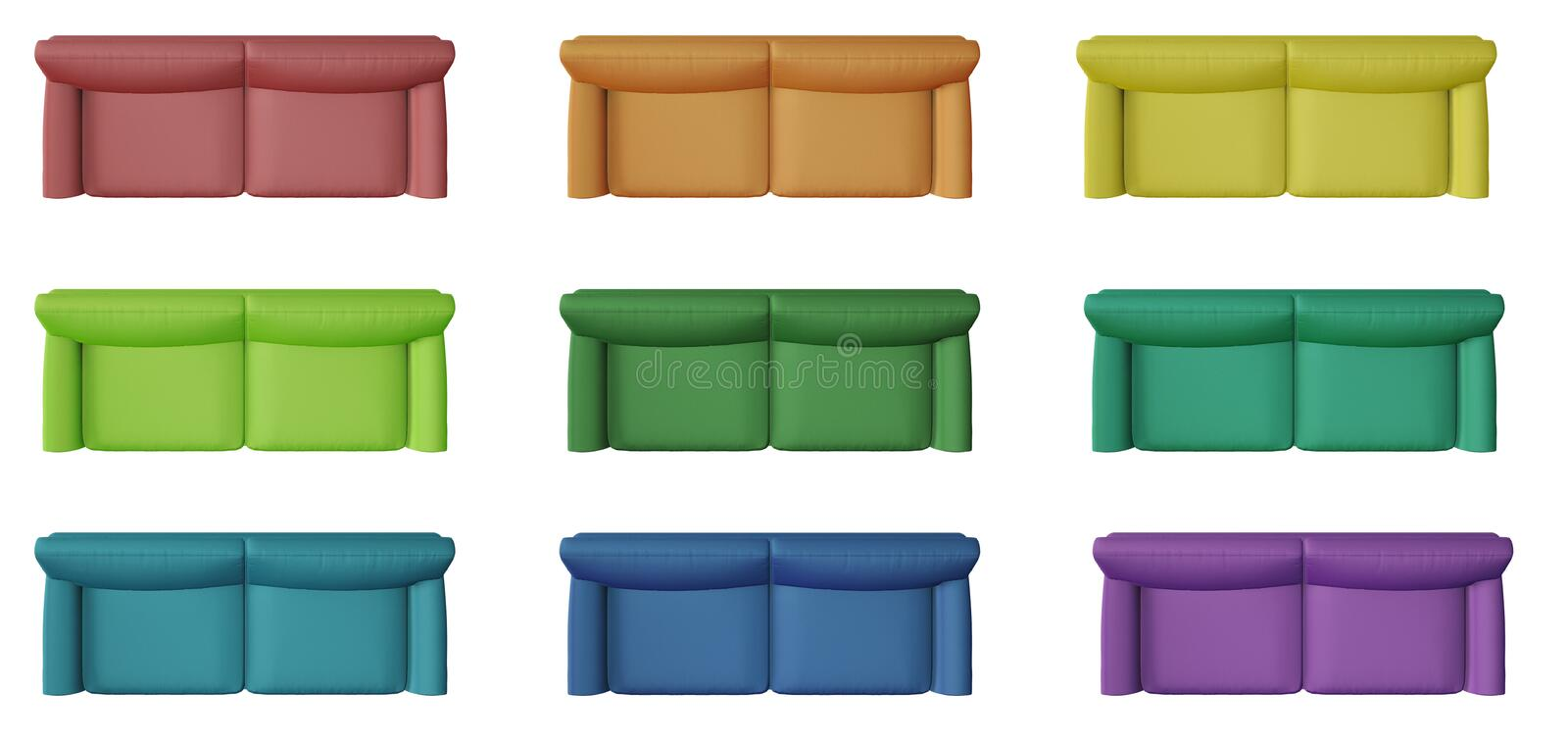 Set of 9 modern monochrome and colored sofa, isolated on white background, above, plan, top view, contemporary furniture concept royalty free stock images