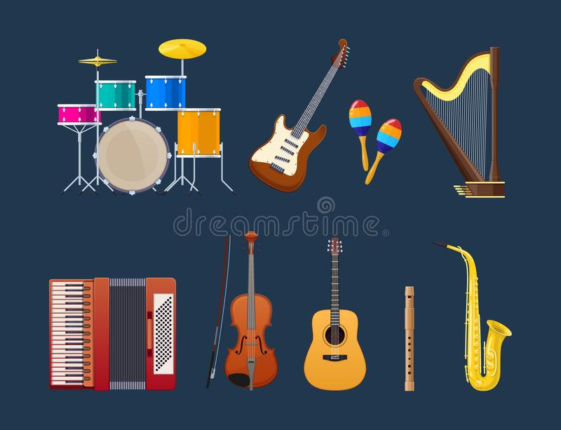 Set of modern musical instruments: percussion, string, brass instruments. Set of modern musical instruments, genre of jazz and blues: percussion drums with vector illustration