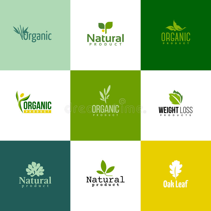 Set of modern natural and organic products logo templates and icons royalty free illustration