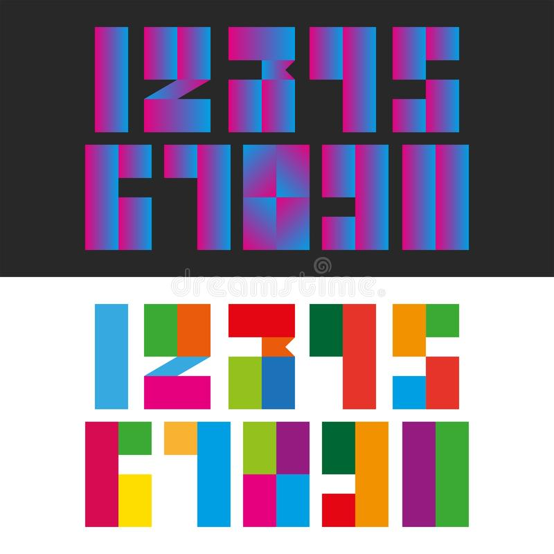 A set of modern numbers from rectangular multi color and gradient blocks geometric shapes, mathematics symbols for typography stock illustration