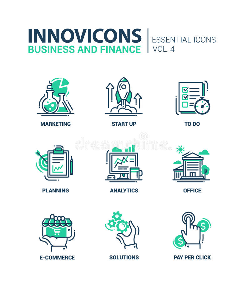 Set of modern office thin line flat design icons stock illustration