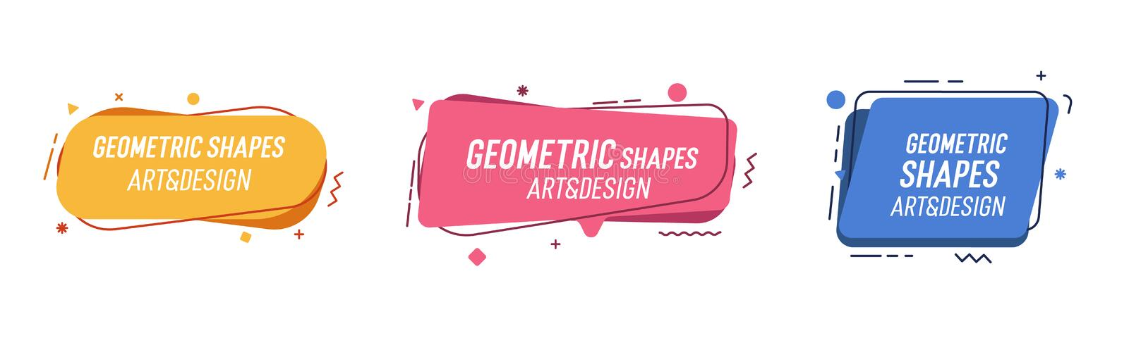 Set of modern organic shapes. Fluid vector trendy elements. Template graphics with geometric speech bubbles and banners with vector illustration