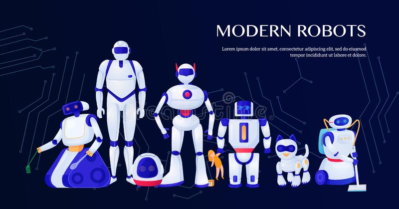 Modern Robots Illustration royalty free illustration