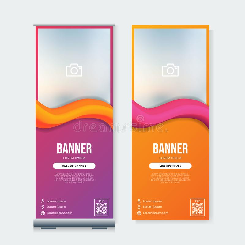 Set of modern roll up banner template vector. Abstract background vector illustration
