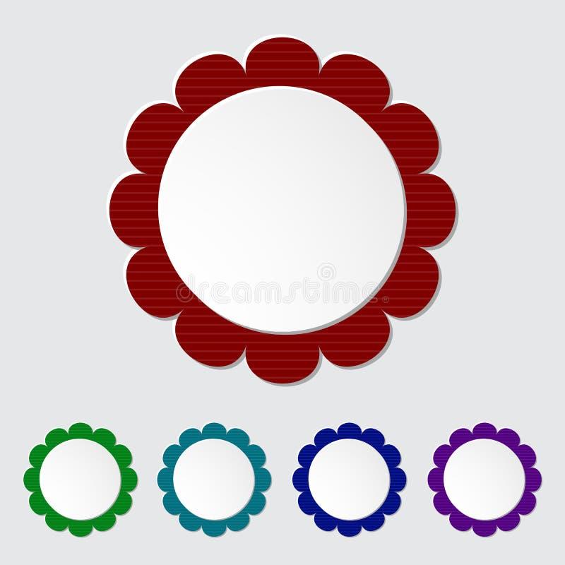 Set of modern round 3D paper labels. royalty free illustration