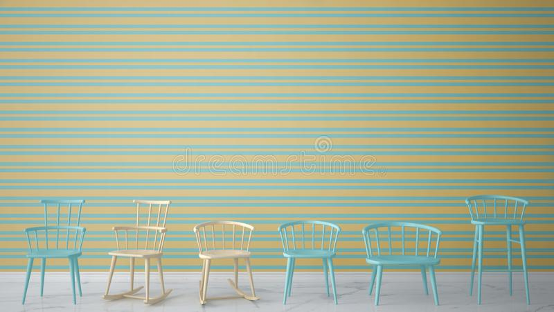 Set of modern scandinavian classic and rocky chairs in contemporary empty interior with marble floor, architect designer concept,. Yellow and blue striped vector illustration