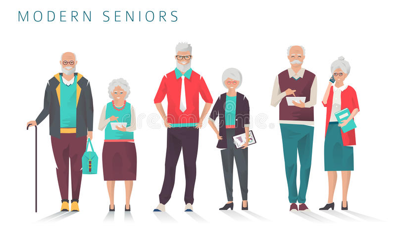 Set of modern senior business people with different gadgets. Old progressive people use modern technology. Vector illustration royalty free illustration