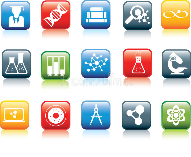 Download Set Of Modern Square Science Icons Stock Vector - Image: 14799063
