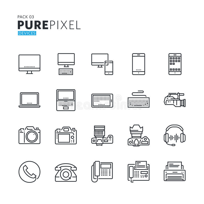Set of modern thin line pixel perfect icons of electronic devices stock illustration