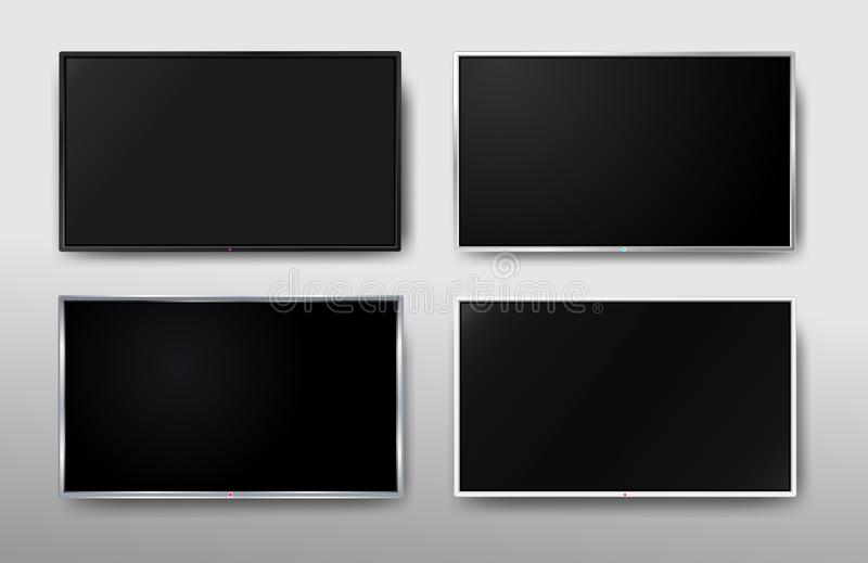 Set of Modern TV screen. Display wide tv. Digital realistic black screen. 4k, LCD or LED tv screen. Vector illustration. Isolated vector illustration