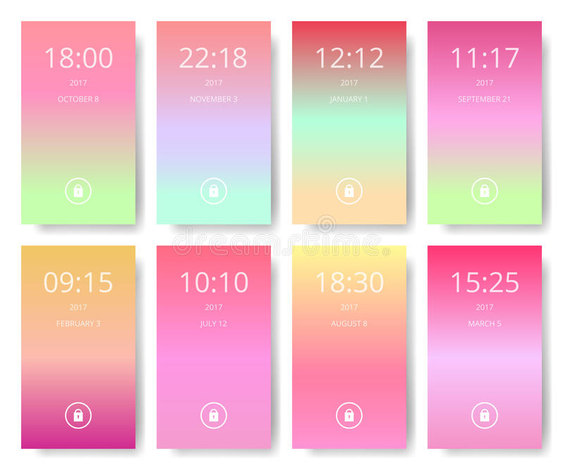 Set of modern user interface, ux, ui screen wallpapers for smart phone. Mobile Application, mobile wallpaper, vector illustration. Exotic fruit colors stock illustration
