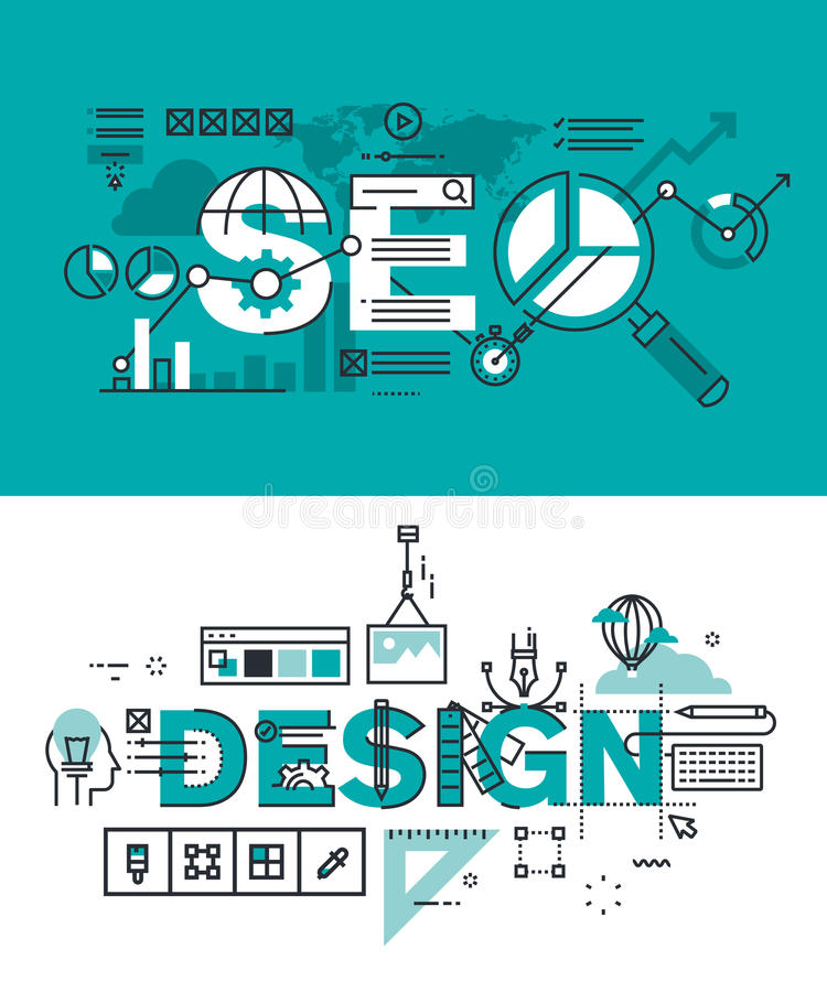 Set of modern vector illustration concepts of words SEO and design. Thin line flat design banners for website and mobile website, easy to use and highly royalty free illustration