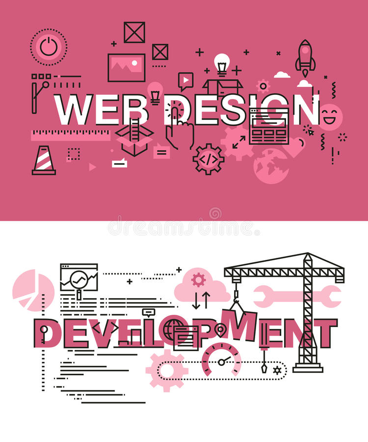 Set of modern vector illustration concepts of words web design and development. Thin line flat design banners for website and mobile website, easy to use and vector illustration