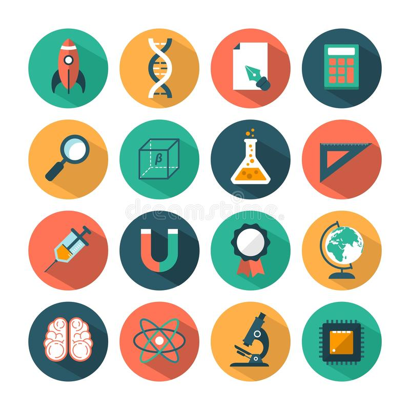 Set of modern vector science icons vector illustration