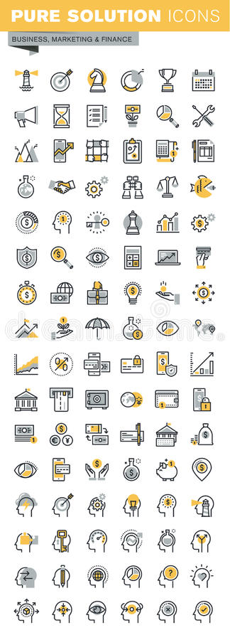 Set of modern vector thin line business and finance icons stock illustration