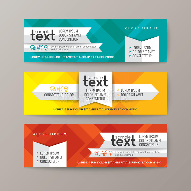 Set of modern web banners template with colorful abstract background royalty free illustration