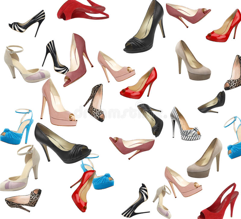 Set of modern woman shoes royalty free illustration