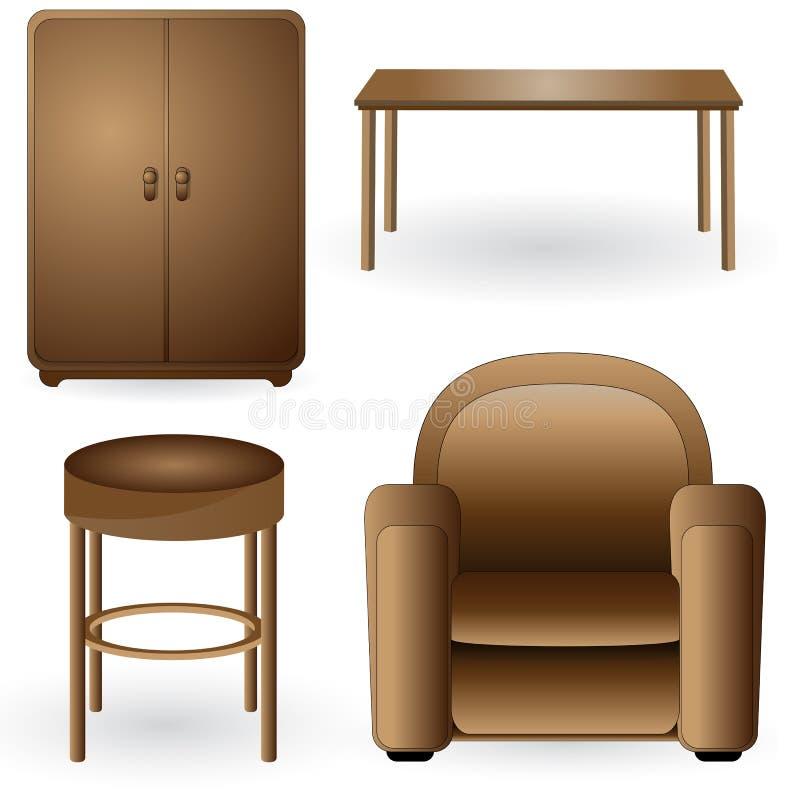 Set moderne, elegante, ausführliche Möbelikonen lizenzfreie abbildung