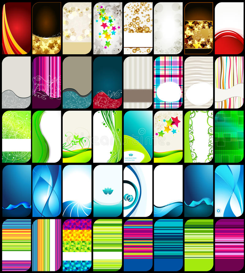 Set moderne, elegante bunte Visitenkarten vektor abbildung