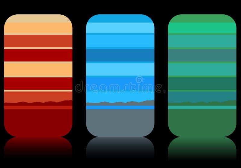 Set moderne elegante gestreifte Visitenkarten lizenzfreie abbildung