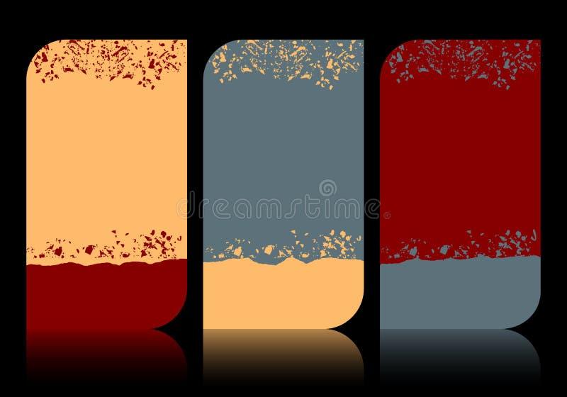 Set moderne elegante grunge Visitenkarten stock abbildung