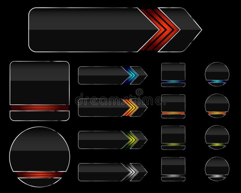 Set moderne glatte Web-Tasten lizenzfreie abbildung