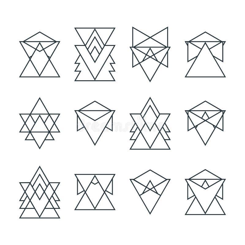 Set modne geometryczne ikony Geometryczni modnisiów logotypy ilustracji
