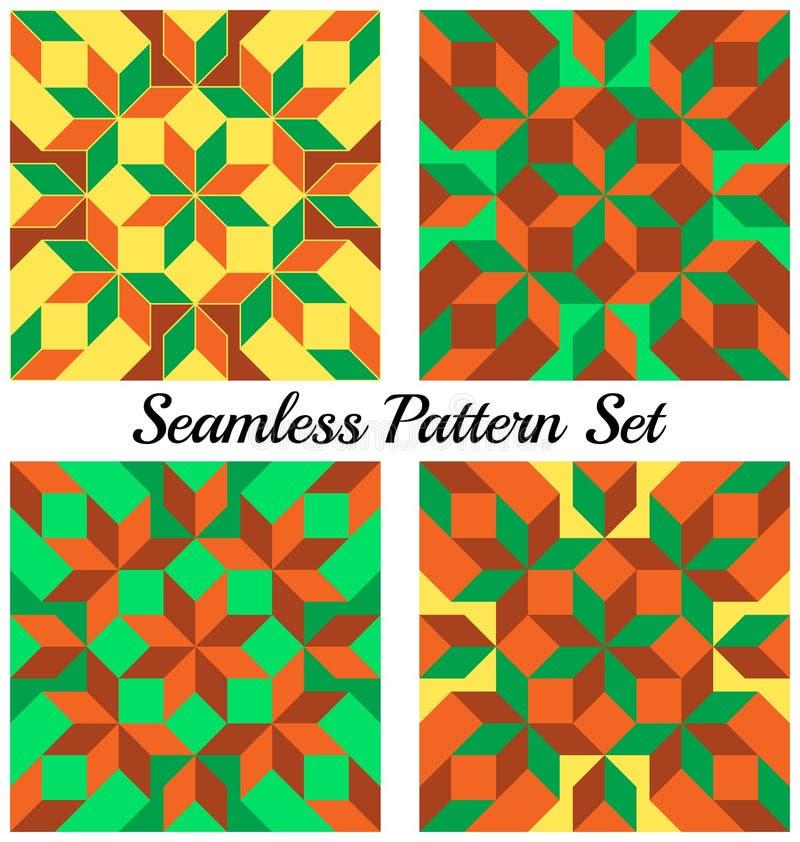 Set 4 modnego geometrycznego bezszwowego wzoru z rhombus i kwadratami zieleni, pomarańcze, koloru żółtego i brązu cienie, royalty ilustracja