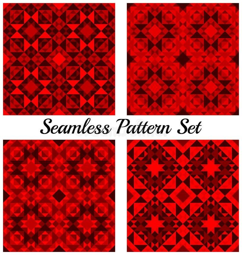 Set 4 modnego geometrycznego bezszwowego wzoru z trójbokami i kwadratami czerwony gradient royalty ilustracja