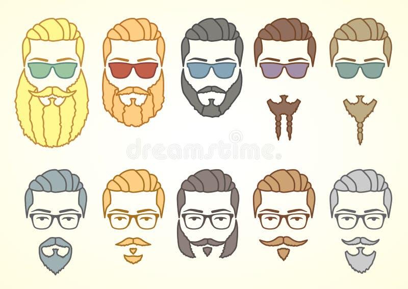 Set modniś twarz z wąsami i kędzierzawymi brodami royalty ilustracja