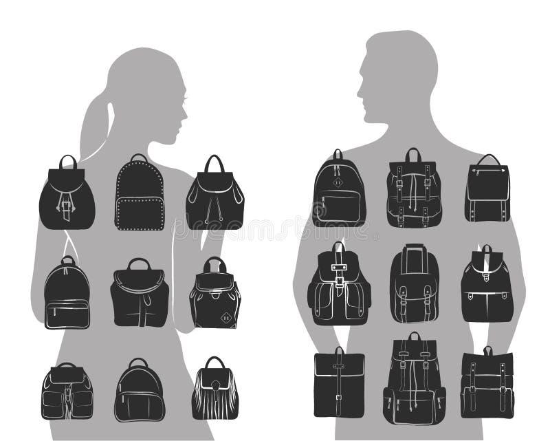 Set 9 modni kobiet i mężczyzna zdojest miastowego plecaka, naramienna torba ilustracja wektor
