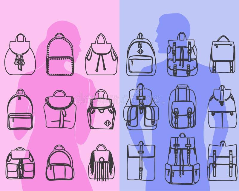 Set 9 modni kobiet i mężczyzna zdojest miastowego plecaka, naramiennej torby kreskowej sztuki projekt ilustracji