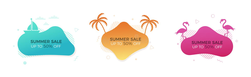 Set modni kolorowi lato sprzedaży sztandary z tematowymi elementami Wektorowy geometryczny szablonu ciecz i faliści kształty w ró ilustracji