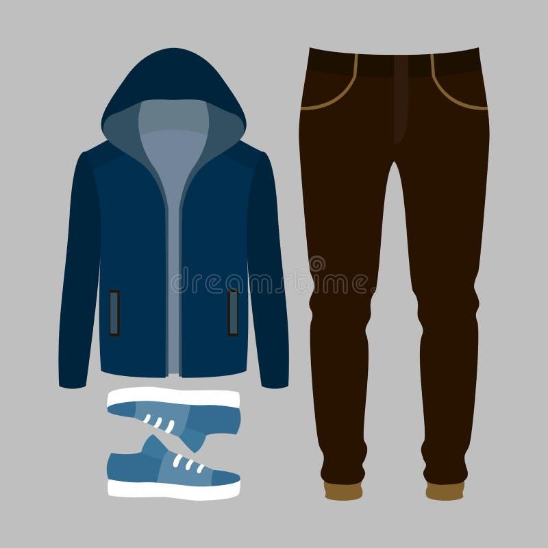 Set modni mężczyzna odziewa Strój blezer, spodnia i akcesoria mężczyzna, mężczyzna garderoba s ilustracji