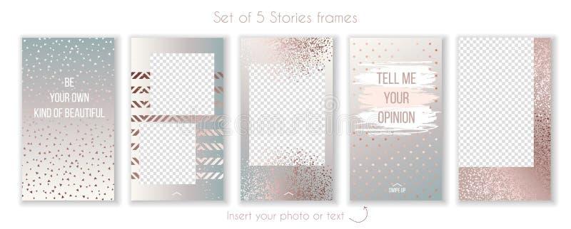 Set modni różani złociści kwarc i instagram opowieści szablony ilustracji