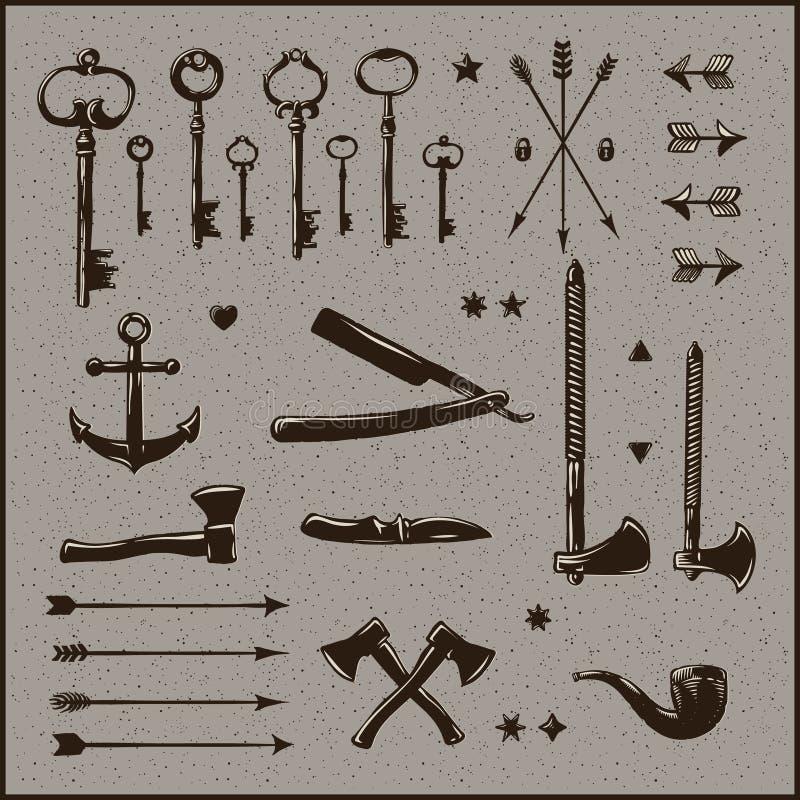 Set modnisia rocznika projekta elementy ilustracja wektor