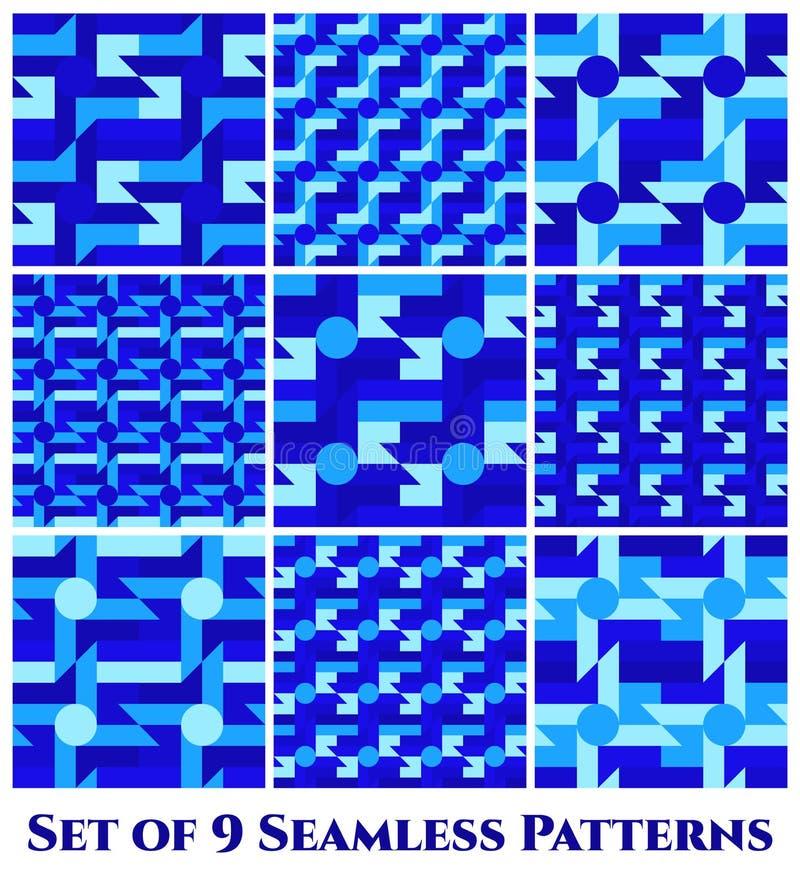 Set 9 modnych bezszwowych wzorów z różnymi geometrycznymi kształtami błękitni cienie ilustracji