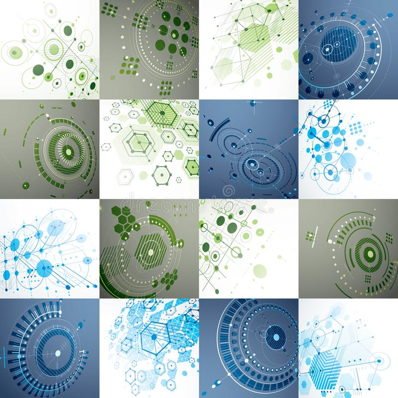Set of modular Bauhaus 3d vector backdrops, created from geometric figures like hexagons, circles and lines. For use as. Advertising poster or banner design vector illustration