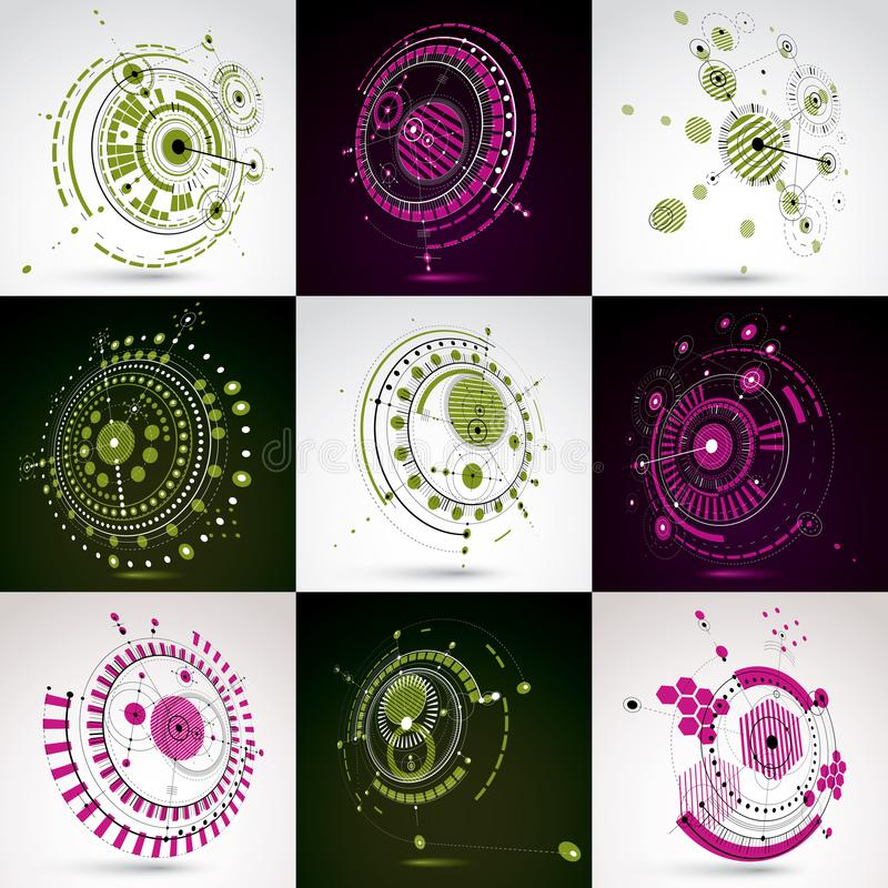 Set of modular Bauhaus 3d vector backdrops, created from geometric figures like circles and lines. For use as advertising poster. Or banner design. Perspective royalty free illustration