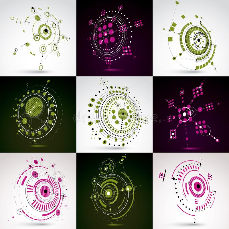 Set of modular Bauhaus 3d vector backdrops, created from geometric figures like circles and lines. For use as advertising poster. Or banner design. Perspective vector illustration
