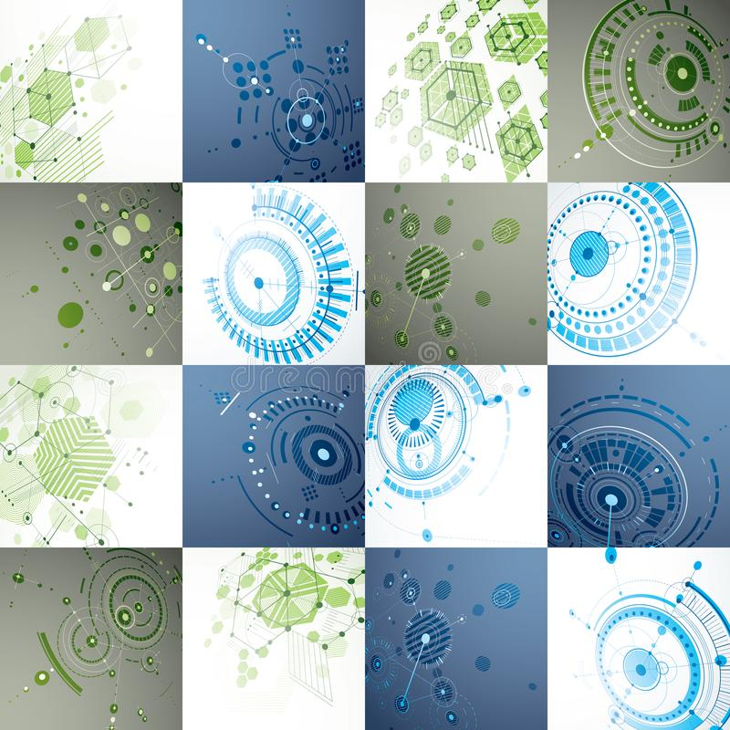 Set of modular Bauhaus 3d vector backdrops, created from geometric figures like hexagons, circles and lines. For use as. Advertising poster or banner design stock illustration