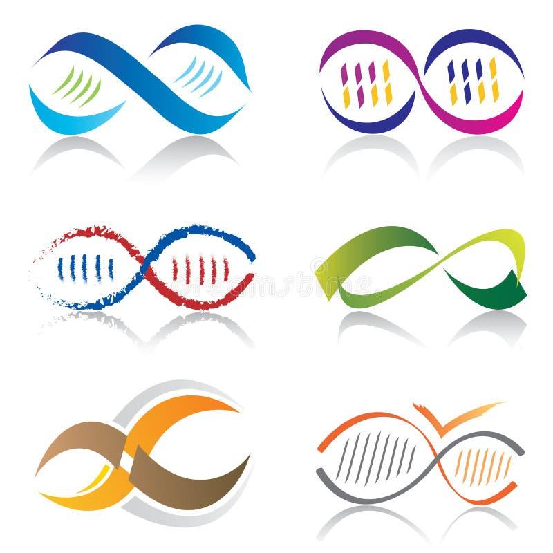Set Molekül-Ikonen der Unendlichkeits-Symbol-Ikonen-/DNA lizenzfreie abbildung