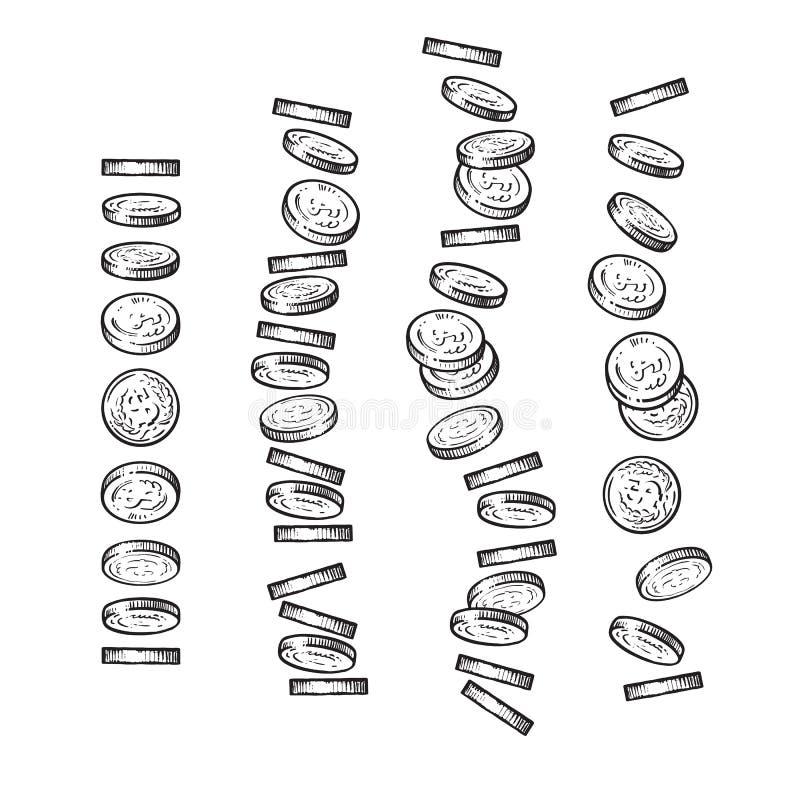 Set monety spada w innej perspektywie, kąty, kierunki w nakreśleniu projektuje Zrzutów dolary, stos gotówka, sterta ilustracja wektor