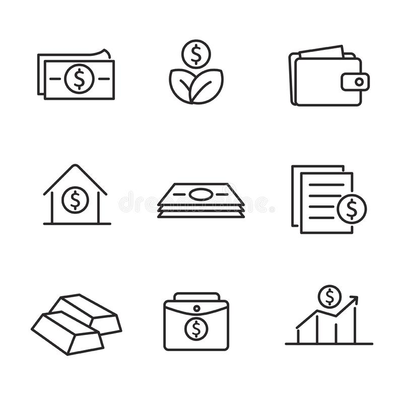 Set of money and investment related vector illustration. With outline design suitable for icon or doodle vector illustration