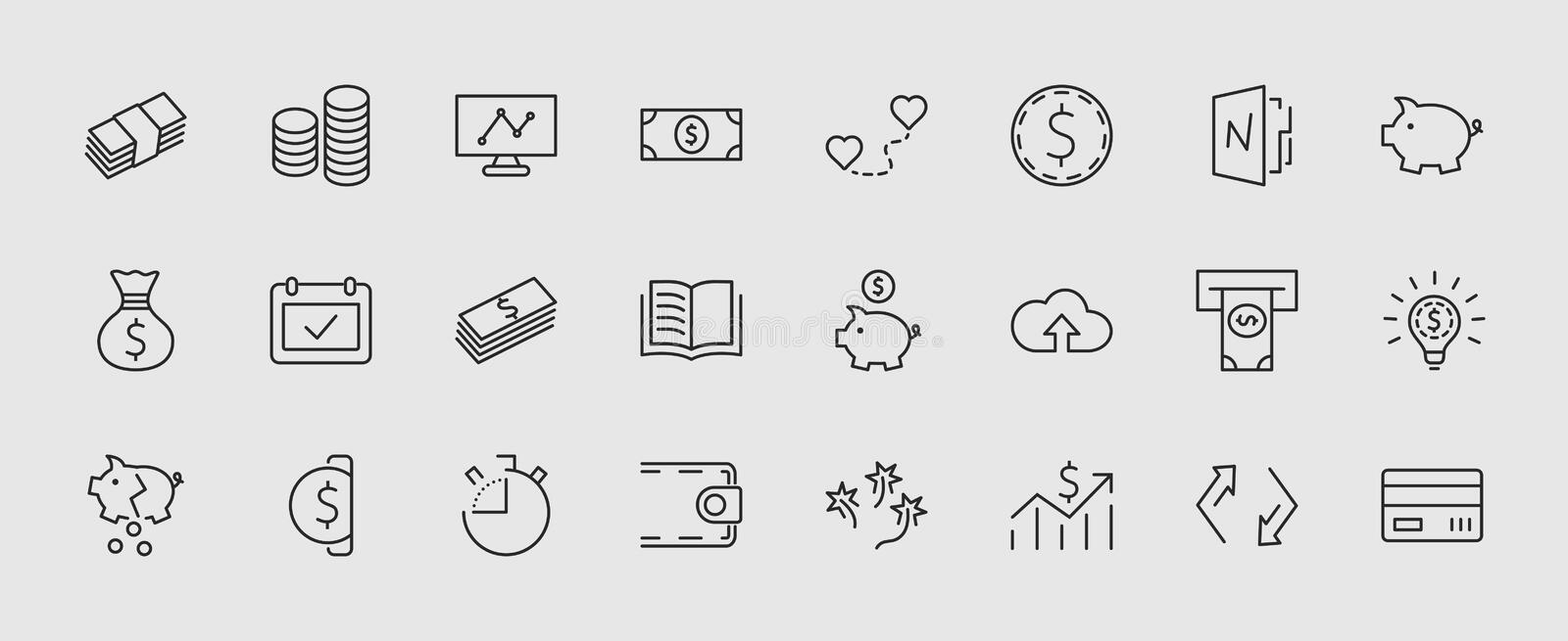 Set of Money Related Vector Line Icons. Contains such Icons as Money Bag, Piggy Bank in the form of a Pig, Wallet, ATM royalty free illustration