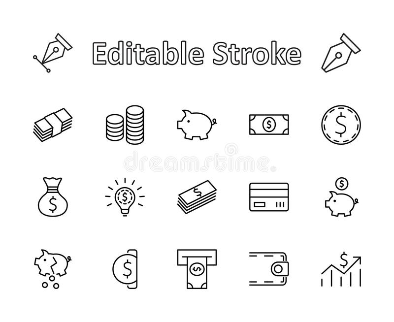 Set of Money Related Vector Line Icons. Contains such Icons as Money Bag, Piggy Bank in the form of a Pig, Wallet, ATM stock images