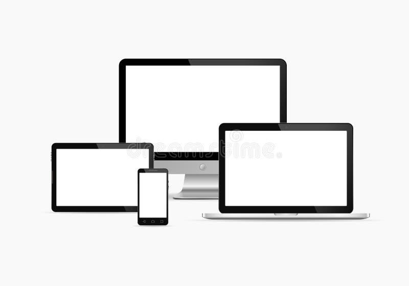 Set monitor, pastylka komputer osobisty, mądrze telefon i laptop, również zwrócić corel ilustracji wektora royalty ilustracja