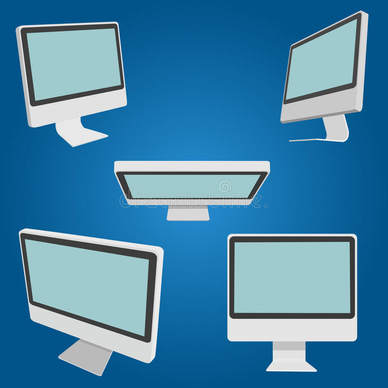 Set of monitors from different angles stock images