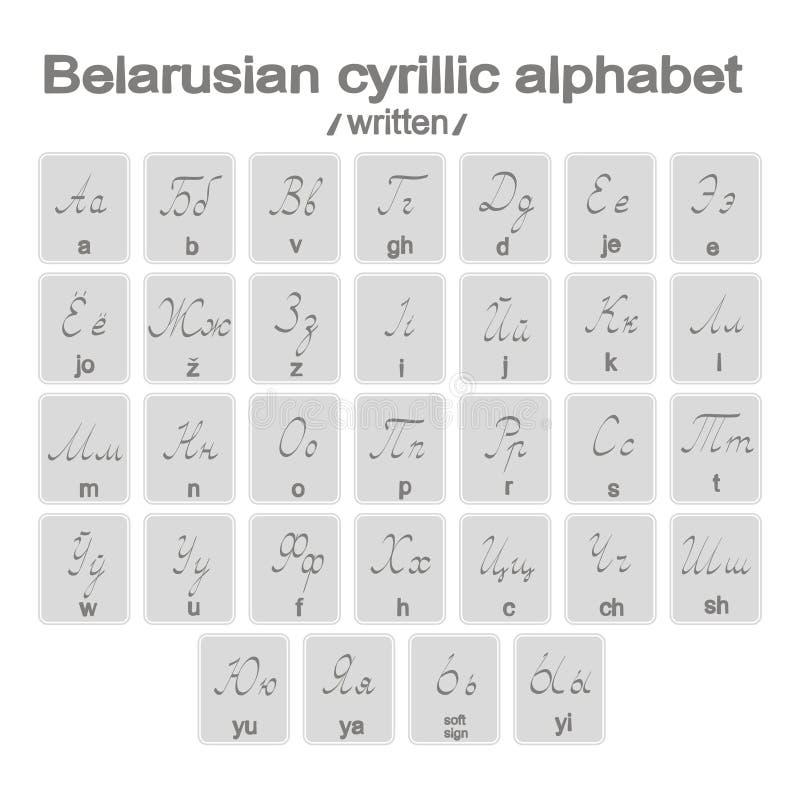 Set monochromatyczne ikony z pisać belarusian cirillic abecadłem royalty ilustracja
