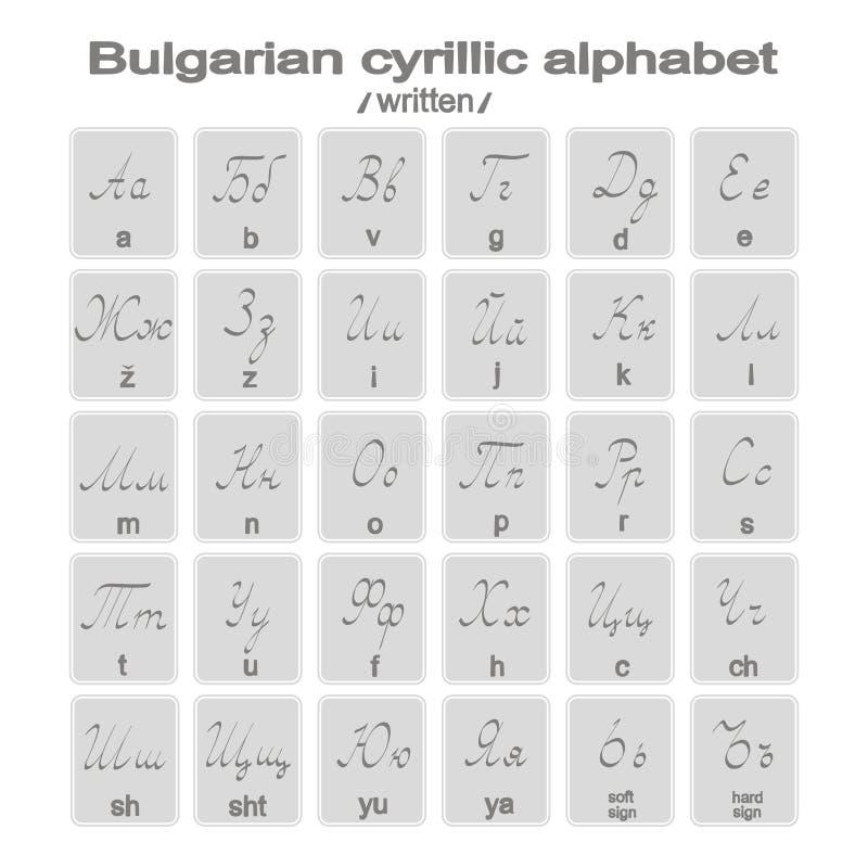 Set monochromatyczne ikony z pisać bulgarian cyrillic abecadłem royalty ilustracja